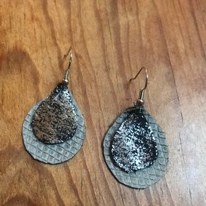 Layered black, silver and grey teardrop earrings